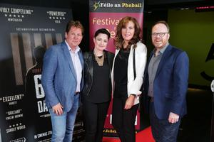 Press Eye Belfast - Northern Ireland - 31st July 2016    Brendan Byrne, Professor Siobhan O'Neill, Professor Deirdre Heenan and Trevor Birney are pictured at the film premiere of Bobby Sands: 66 Days at the Omniplex Cinema at the Kennedy Centre in west Belfast.  The premiere was hosted with Féile An Phobail and West Belfast Film Festival.  Photo by Kelvin Boyes  / Press Eye
