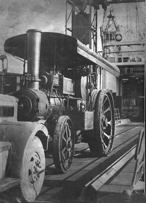 The 57-year-old steam engine 'Vera' boards the Liverpool ferry at Belfast for a new lease of life.  30/3/1968