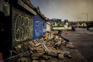 Storm damage caused to shops on the Gilnahirk Road in Dundonald on February 16th 2020 (Photo by Kevin Scott for Belfast Telegraph)