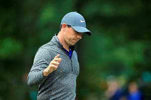 NORTON, MA - SEPTEMBER 05:  Rory McIlroy of Northern Ireland acknowledges the crowd on the 16th green during the final round of the Deutsche Bank Championship at TPC Boston on September 5, 2016 in Norton, Massachusetts.  (Photo by Maddie Meyer/Getty Images)