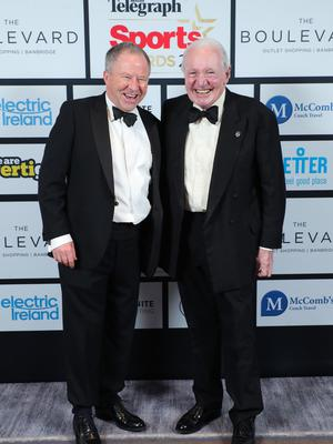 Press Eye - Belfast - Northern Ireland - 20th January  2020   Bobby Willis and Paddy Hopkins pictured at the 2019 Belfast Telegraph Sport Awards at the Crowne Plaza Hotel in Belfast.  Photo by Kelvin Boyes / Press Eye.