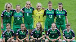 Northern Ireland's players line-up for Monday evening's UEFA Women's Under-19 Championship game against Germany at the Ballymena Showgrounds.