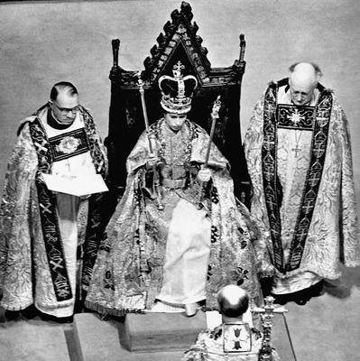 File photo dated 02/06/53 after the coronation in Westminster Abbey, London showing Queen Elizabeth II wearing the St. Edward Crown and carrying the Sceptre and the Rod as she turns 90 on the April 21st. PRESS ASSOCIATION Photo. Issue date: Sunday April 3, 2016. See PA story ROYAL Birthday. Photo credit should read: PA Wire