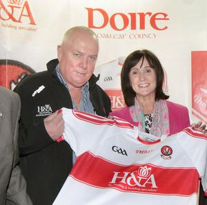 Derry GAA main sponsors Hugh and Anne McWilliams at a jersey launch in 2015. Picture Margaret McLaughlin