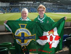 @Press Eye Ltd Northern Ireland- 27th May 2016 Mandatory Credit -Brian Little/Presseye  Jennifer Simpson and Kathleen Graham from Newtownabbey  watching Northern Ireland     and Belarus      during Friday night's Vauxhall Friendly International match  at the National Football Stadium at Windsor Park. Picture by Brian Little/Presseye