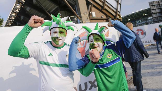 Picture - Kevin Scott / Presseye  Belfast , UK - May 27, Pictured is Northern Irelands David and Adam Orr in action during the last home game before heading to the Euros on May 27 2016 in Belfast , Northern Ireland ( Photo by Kevin Scott / Presseye)