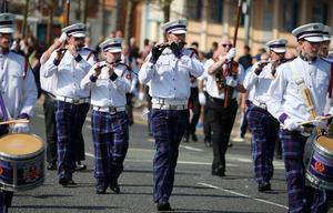 Press Eye - Belfast - Northern Ireland - 22nd April 2019  Apprentice Boys of Derry Easter Monday parade in Belfast.  The main parade makes its way up the Holywood Road in east Belfast where it stopped on the Belmont Road for a religious service at a war memorial before carrying on.     Picture by Jonathan Porter/PressEye