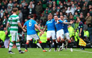 GLASGOW, SCOTLAND - APRIL 17:  Barrie McKay (R) of Rangers celebrates with his team-mates after scoring their second goal during the Scottish Cup Semi Final between Rangers and Celtic at Hampden Park on April 17, 2016 in Glasgow, Scotland. (Photo by Ian MacNicol/Getty Images)