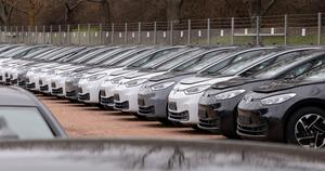Electric car ID.3 cars stand at the factory area during a press tour at the plant of the German manufacturer Volkswagen (Jens Meyer/AP)
