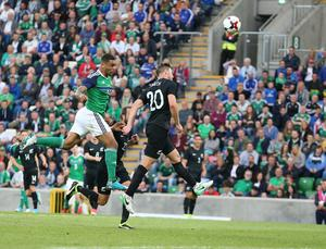 PressEye-Northern Ireland- 2nd June 2017-Picture by Brian Little/PressEye  Northern Ireland. Josh Magennis   and   New Zealand  Tommy Smith during Friday night's Vauxhall  International at  the National Football Stadium, Windsor Park ,Belfast. Picture by Brian Little/PressEye