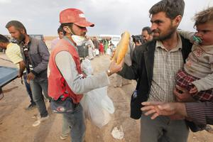 SANLIURFA, TURKEY -  OCTOBER 7:  An aid worker gives a loaf of bread to the newly arrived Syrian Kurdish refugees as they walk with their belongings after crossing into Turkey from the Syrian border town Kobani on October 7, 2014 near the southeastern town of Suruc in Sanliurfa province, Turkey.   Islamic State fighters have advanced into the Syrian Kurdish town of Kobani overnight, a monitoring group said on Tuesday. Militants are reportedly using several buildings to attack from two sides of the city.  (Photo by Stringer/Getty Images)