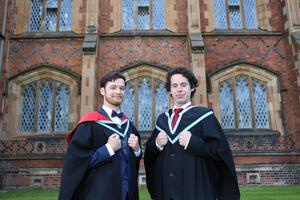 Pictured left to right at the Queen's University Belfast graduation ceremony today areThomas Thompson who is graduating with MPharm, First Class Honours and his brother Jack Thompson who is graduating with an MB BCh BAO Bachelor of Medicine.