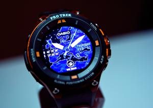 LAS VEGAS, NV - JANUARY 04:  A Casio Pro Trek Smart WSD-F20 watch is unveiled during a press event for CES 2017 at the Mandalay Bay Convention Center on January 4, 2017 in Las Vegas, Nevada. CES, the world's largest annual consumer technology trade show, runs from January 5-8 and is expected to feature 3,800 exhibitors showing off their latest products and services to more than 165,000 attendees.  (Photo by David Becker/Getty Images)