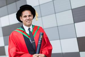 Donegal man and Ulster University alumnus, Ricky Simms, received the honorary degree of Doctor of Science (DSc) for his outstanding achievement as a leading sports agent. (Photo: Nigel McDowell/Ulster University)