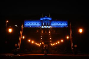 Parliament Buildings, Stormont in Belfast is lit up in blue in support for key workers and the NHS across the country as tonight's second Clap For Our Carers takes place.  Photo by Kelvin Boyes / Press Eye.