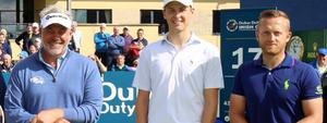 Sammy Clingan with Darren Clarke and Tyrone Clarke at the Northern Ireland Open.