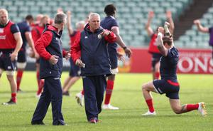 Warren Gatland (centre) issues instructions in a Lions training session in New Zealand (David Davies/PA)