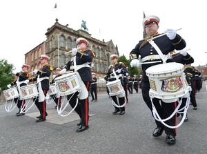 Pacemaker Press 12/07/16  The Orange Parade in Belfast City Centre on Tuesday , as the 12th of July celebrations take part across Northern Ireland, to commemorate the Battle of Boyne, which occurred on IrelandÕs east coast in 1690. Pic Colm Lenaghan/Pacemaker