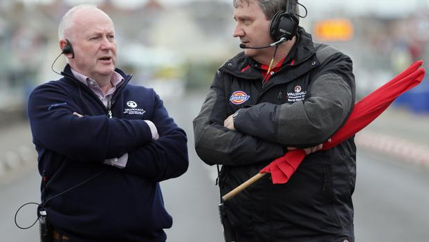 PACEMAKER, BELFAST, 15/5/2018: Event Director Mervyn Whyte and Clerk of the Course, Stanleigh Murray on the grid during the first practice session of the 2018 Vauxhall International North West 200. PICTURE BY STEPHEN DAVISON