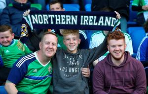 Northern Ireland fans in the stands before the International Friendly at Windsor Park, Belfast. PRESS ASSOCIATION Photo. Picture date: Friday May 27, 2016. See PA story SOCCER N Ireland. Photo credit should read: Niall Carson/PA Wire. RESTRICTIONS: Editorial use only, No commercial use without prior permission, please contact PA Images for further information: Tel: +44 (0) 115 8447447.