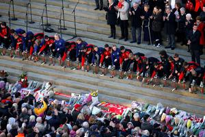 Representatives (96 in total) of Liverpool Football Club and Everton Football Club lay roses at a commemorative event at St George's Hall in Liverpool, to mark the outcome of the Hillsborough inquest which ruled that 96 Liverpool fans who died as a result of the Hillsborough disaster were unlawfully killed. PRESS ASSOCIATION Photo. Picture date: Wednesday April 27, 2016. See PA story INQUEST Hillsborough. Photo credit should read: Peter Byrne/PA Wire
