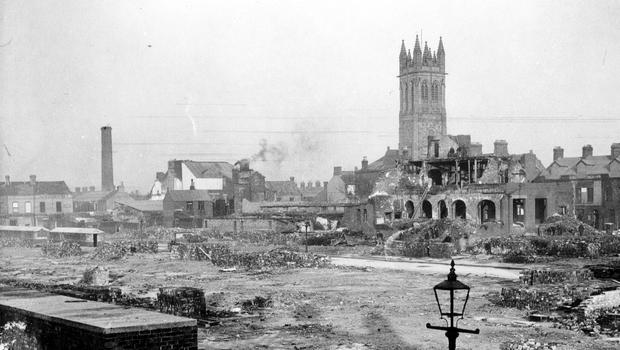 WORLD WAR II: BELFAST AIR RAIDS. NEWTOWNARDS ROAD. 4/5 May 1941.Newtownards Road, blitzed areas cleaned up. AR 128.