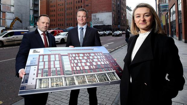Joanne McBurney of Wirefox with letting agents Gareth Howell, Savills and Ian Duddy, Colliers International