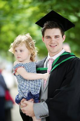Graduating from Ulster University today is Nathan Rocks from Toombridge with a degree in Sports & Exercise Science, also pictured is Sophie Brown (2) . Pic by Paul Moane / Aurora PA