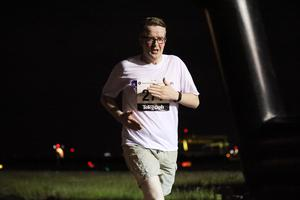 Press Eye - Belfast -  Northern Ireland - 24th June 2015 - David Meade takes part in the first ever Grant Thornton Runway Run at Belfast City Airport this evening. Picture by Kelvin Boyes / Press Eye.