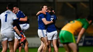 Cavan players celebrate following their Ulster SFC final win over Donegal at the Athletic Grounds in Armagh. Photo by David Fitzgerald/Sportsfile