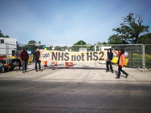 Another group demonstrated at the HS2 site in Colne Valley, Greater London (HS2 Rebellion/PA)