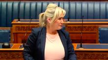 Tears: Michelle O'Neill in the Assembly yesterday
