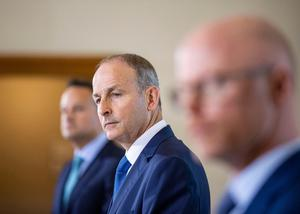 aoiseach Micheal Martin speaking in Dublin at the unveiling of the Irish Government's blueprint for living with Covid-19.
