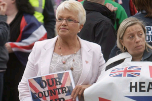 Ruth Patterson at a flag protest at Belfast City Hall