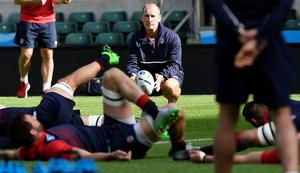 England's head coach Stuart Lancaster (C) leads a training session at Twickenham Stadium, south west London, on September 17 FIFE/AFP/Getty Images
