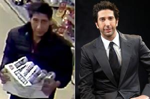 Spitting image: The Blackpool thief and (right) David Schwimmer