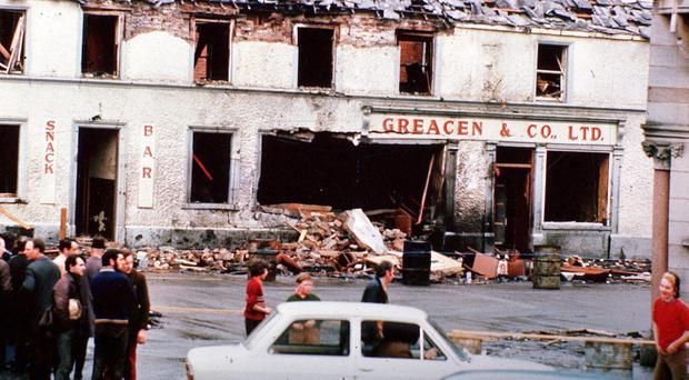 Monaghan town centre - May 17, 1974, after a car bomb explosion which claimed the lives of 7 people.