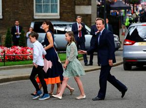 David Cameron after making a speech outside 10 Downing Street in London, with wife Samantha and children Nancy, 12, Elwyn, 10, and Florence, 5, before leaving for Buckingham Palace for an audience with Queen Elizabeth II to  formally resign as Prime Minister. PRESS ASSOCIATION Photo. Picture date: Wednesday July 13, 2016. See PA story POLITICS Conservatives. Photo credit should read: Gareth Fuller/PA Wire