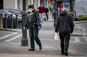 Police officers on patrol in Belfast City Centre during the coronavirus pandemic in Northern Ireland on Friday, March 27th 2020 (Photo by Kevin Scott for Belfast Telegraph)