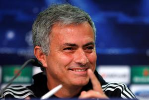Chelsea's manager Jose Mourinho gestures and smiles as he addresses the media during a press conference one day ahead of the Champions League Group E soccer match between Schalke 04 and Chelsea FC   Monday, Oct. 21, 2013 in Duesseldorf, Germany. (AP Photo/Frank Augstein)