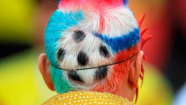 Detail of a Colombia fans dyed hair ahead of the FIFA World Cup 2018, round of 16 match at the Spartak Stadium, Moscow.