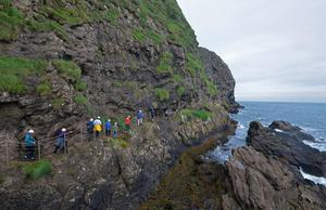 Walking a section of The Gobbins. Photo: Pól Ó Conghaile