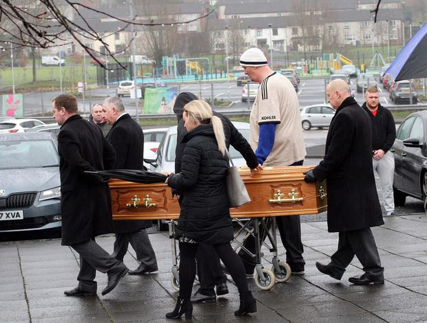 Mandatory Credit - Picture by Freddie Parkinson © Thursday 12 December 2019 Funeral of Dylan Fox who died suddenly at his west Belfast. Family and friends say Goodbye at St Lukes Church, Twinbrook.