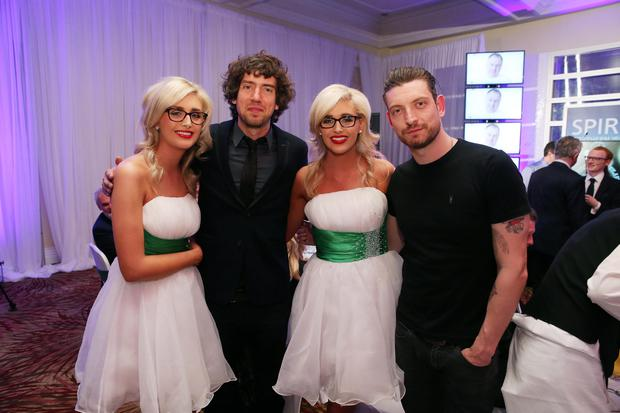 Nicola and Laura Crimmins with Gary Lightbody and Nathan Connolly. Pic: Kelvin Boyes/Press Eye.