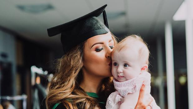 Pictured at the Ulster University Summer Graduations 2018 at Coleraine is Lauren Moore with daughter Ellie graduating in Psychology. Picture John Murphy Aurora PA.