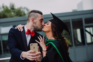 Pictured at the Ulster University Summer Graduations 2018 at Coleraine is Melina McCaig graduating in Psychology with partner Denver Kelly. Picture John Murphy Aurora PA.