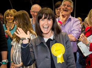 Alliance Party's Paula Bradshaw celebrates after become the MLA for Belfast South at the Titanic Exhibition Centre in Belfast, during the Northern Ireland Assembly Elections. Liam McBurney/PA Wire