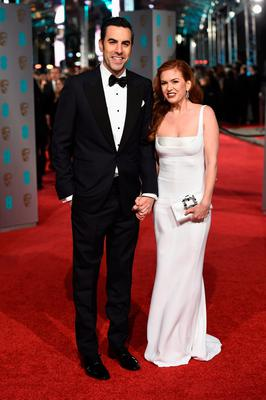 Sacha Baron Cohen and Isla Fisher attend the EE British Academy Film Awards at the Royal Opera House on February 14, 2016 in London.  (Photo by Ian Gavan/Getty Images)