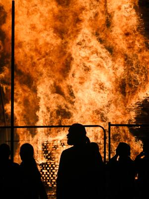 Picture - Kevin Scott / Presseye  Belfast - Northern Ireland - Saturday 11th July 2015 -  12th Night Bonfires  Pictured is the Sandy Row bonfire in South Belfast, as 12th of July celebrations get under way across Northern Ireland to mark the victory of King William over King James   Picture by Kevin Scott  / Presseye.