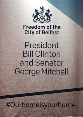 Ceremony held in Ulster Hall to confer the Freedom of the City of Belfast on President Bill Clinton and Senator George J. Mitchell.